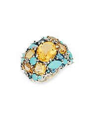 Stephen Dweck Turquoise Citrine London Blue Topaz And Sterling Silver Ring Silver Multi