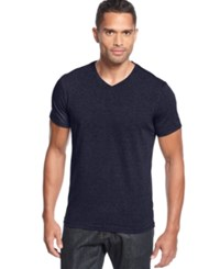 Alfani Slim Fitted V Neck T Shirt Indigo Heather
