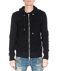 Balmain Striped Long Sleeve Zip Up Hoodie Black Size Medium