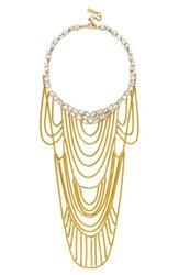 Women's Baublebar 'Flaxen' Chain Bib Necklace Clear Gold