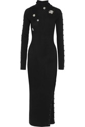 Preen Amice Embellished Wool Maxi Dress Black