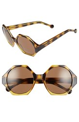 Women's Jonathan Adler 'Waikiki' 55Mm Hexagonal Sunglasses Tort Gradient