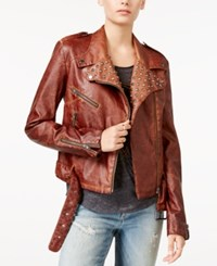 William Rast Kate Embellished Faux Leather Moto Jacket Camel