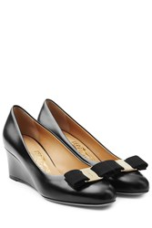 Salvatore Ferragamo Varina Leather Wedges Black