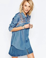 Deby Debo Samson Shirt With Lace Shoulder Inserts Blue