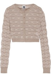 M Missoni Cropped Metallic Crochet Knit Cardigan Taupe
