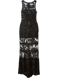 Elie Saab Beaded Embellished Sheer Gown Black