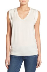 Women's Velvet By Graham And Spencer V Neck Sleeveless Top Oat Natural