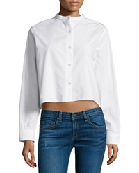 Rag And Bone Rag And Bone Jean Leeds Button Front Cropped Blouse White