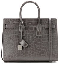 Saint Laurent Sac De Jour Small Embossed Leather Tote Grey