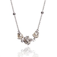 Kasun Ivory 3 Pearl Necklace Silver