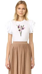 Red Valentino Embroidered Flower Tee White