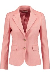 Tory Burch Claudia Linen And Cotton Blend Blazer Pink
