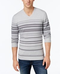 Alfani Men's Striped V Neck Sweater Only At Macy's Vanilla Combo
