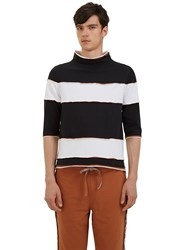 Telfar Raw Layered Mock Neck Striped T Shirt Black