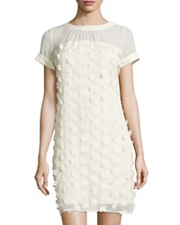 Label By 5Twelve Short Sleeve Floral Applique Chiffon Dress Ivory