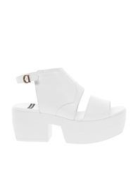 Vagabond Lindi Leather White Platform Slingback Heeled Sandals