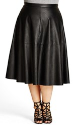 City Chic Plus Size Women's 'Flirt' Faux Leather Midi Skirt