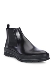 Prada Leather Chelsea Boots Nero