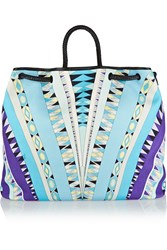Emilio Pucci Leather Trimmed Printed Cotton Canvas Tote Blue