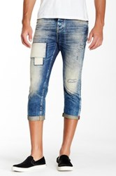 Antony Morato Patched And Distressed Cropped Jean Blue