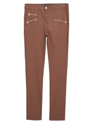 Violeta By Mango Coated Slim Fit Jeans Brown