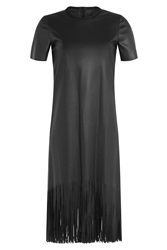 Cedric Charlier Faux Leather Dress With Fringe Black