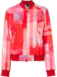 Y 3 Abstract Print Bomber Jacket Red