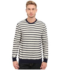 Threads 4 Thought The Andrew Striped Crew China Blue Men's Long Sleeve Pullover