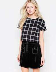 Daisy Street Crop Top In Grid Print Black