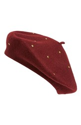 Sole Society Women's Studded Beret Red