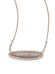 Meira T Labradorite Diamond And 14K Rose Gold Oval Pendant Necklace