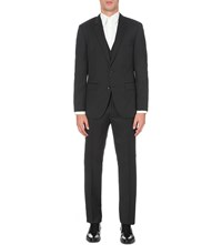 Hugo Boss Regular Fit Three Piece Wool And Silk Blend Suit Charcoal