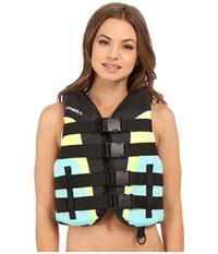O'neill Superlite Uscg Vest Black Turquoise Lime Turquoise Women's Swimwear
