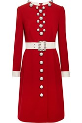 Dolce And Gabbana Embellished Wool Blend Dress Red