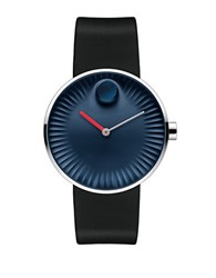 Movado Edge Stainless Steel And Rubber Strap Watch 3680004 Black