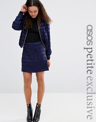 Asos Petite A Line Skirt In Satin Stripe Co Ord Navy