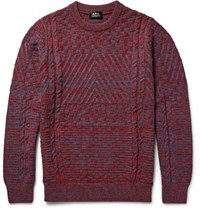 A.P.C. Wexford Textured Melange Virgin Wool Sweater Burgundy