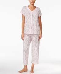 Charter Club Loop Trimmed Top And Cropped Pants Pajama Set Only At Macy's Dogs Print