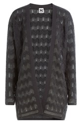 M Missoni Semi Sheer Chevron Knit Open Cardigan Grey