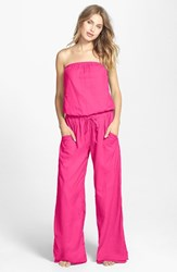 Women's Hard Tail Strapless Shelf Bra Jumpsuit Pom Pom Pink