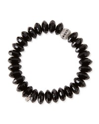 Sydney Evan 12Mm Faceted Black Agate Beaded Bracelet W 14K White Gold Diamond Disc