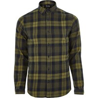 Only And Sons River Island Mens Dark Yellow Casual Check Shirt