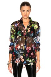 Anthony Vaccarello Multi Flower Print Classic Shirt In Black Floral Black Floral