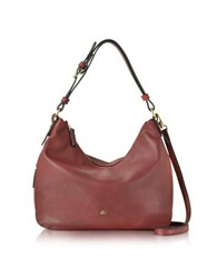 Roccobarocco Large Burgundy Eco Leather Zip Hobo Bag
