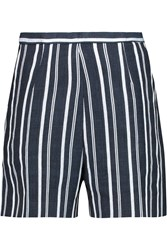 Stella Jean Striped Cotton Canvas Shorts Blue