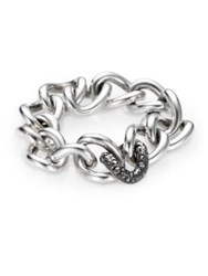 Pomellato 67 Marcasite And Sterling Silver Chain Link Bracelet