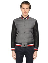 Moncler Gamme Bleu Cotton And Leather Down Bomber Jacket