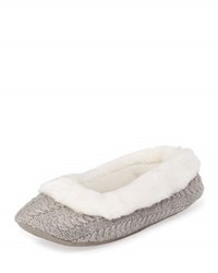 Patricia Green Callie Plush Cable Knit Slipper Grey