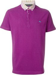 Etro Check Collar Polo Shirt Pink And Purple